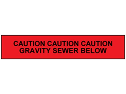 Caution gravity sewer below tape.