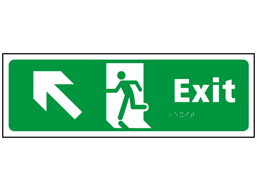 Exit, running man, arrow up left sign.