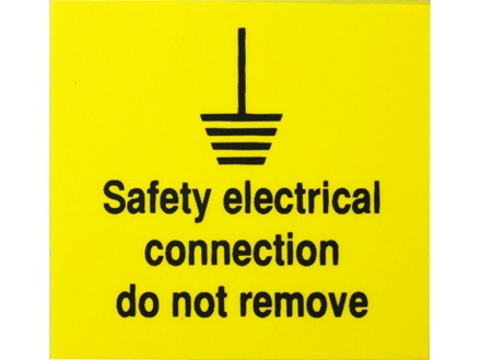 Safety electrical connection do not remove label