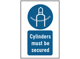 Cylinders must be secured symbol and text safety sign.