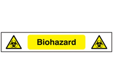 Biohazard symbol and text safety tape.