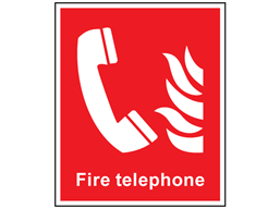 Fire telephone symbol and text safety sign.