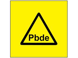 Pbde (polybrominated diphenyl ether) symbol label.