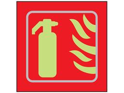 Fire extinguisher symbol photoluminescent sign.