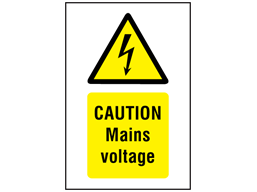 Caution Mains voltage symbol and text safety sign.