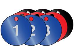 Coloured aluminium valve tags, numbered 1-25