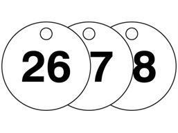 Plastic valve tags, numbered 26-50