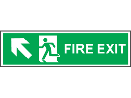 Fire exit arrow diagonal up-left symbol and text safety sign.