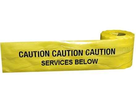 Caution services below tape.