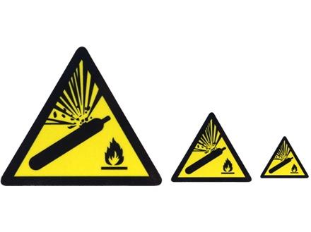 Pressurised cylinder hazard warning symbol label.
