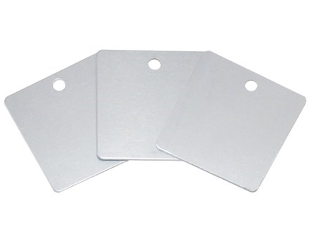 Blank anodised aluminium square metal tags.