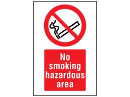 No smoking hazardous area symbol and text safety sign.