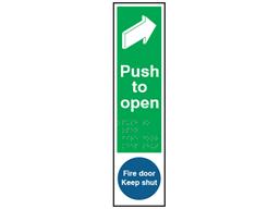 Push to open, Fire door keep shut sign.