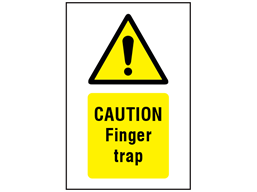 Caution Finger trap symbol and text safety sign.