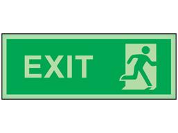 Exit, running man photoluminescent safety sign