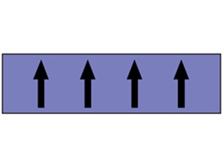 Flow indication tape for acids and alkalies