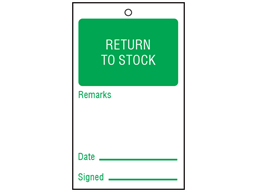Return to stock tag
