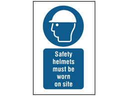 Safety helmets must be worn on site symbol and text safety sign.