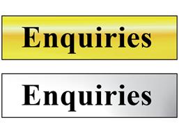 Enquiries metal doorplate