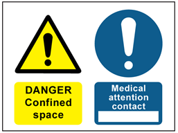 Danger confined space, medical attention contact safety sign.