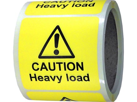 Caution heavy load label.