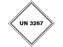 UN 3267 (Corrosive liquid, basic, organic) label.