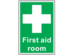 First aid room symbol and text safety sign.