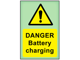 Danger Battery charging photoluminescent safety sign