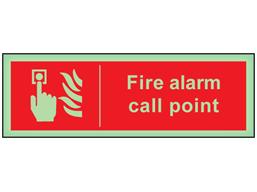 Fire alarm call point photoluminescent safety sign