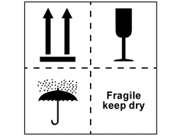 Fragile keep dry combination heavy duty packaging label