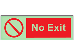 No exit photoluminescent safety sign