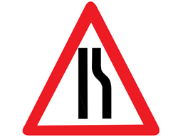 Road ahead narrows on right temporary road sign.
