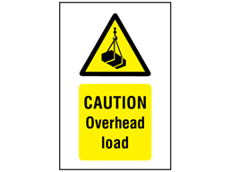Caution Overhead load symbol and text safety sign.