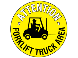 Attention forklift truck area floor marker