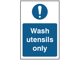 Wash utensils only safety sign.