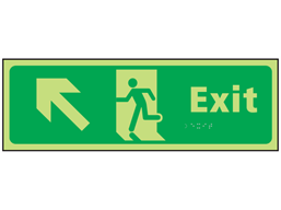 Exit arrow up left photoluminescent sign.