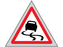 Slippery road roll up road sign