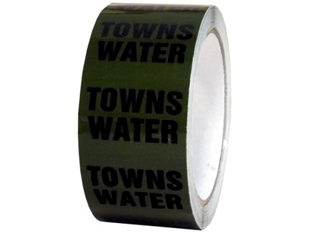 Towns water pipeline identification tape.