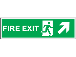 Fire exit arrow diagonal up-right symbol and text safety sign.