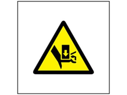 Crush hazard symbol safety sign.