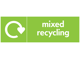 Mixed recyclables WRAP recycling signs