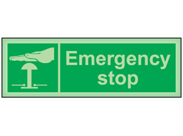Emergency stop photoluminescent safety sign