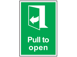 Pull to open (arrow left) symbol and text safety sign.