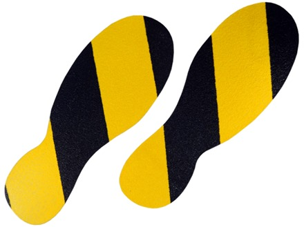 Black and Yellow footprints.