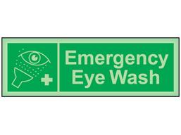 Emergency eye wash photoluminescent safety sign