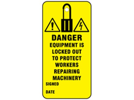 Danger, equipment is locked out to protect workers repairing machinery.