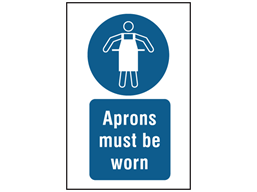 Aprons must be worn symbol and text safety sign.