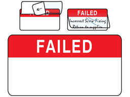 Failed jumbo write and seal labels.