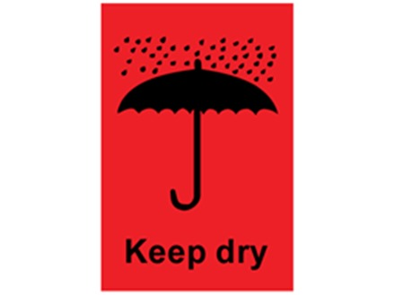Keep dry shipping label.
