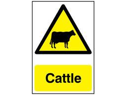 Cattle warning safety sign.